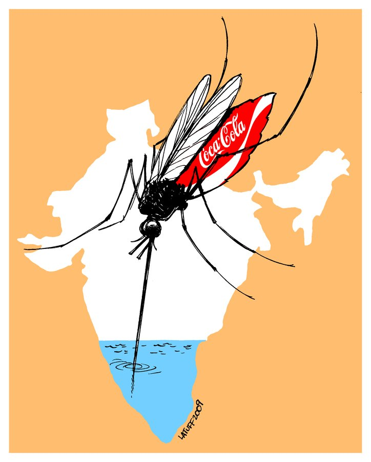 Watersucking Coke in India, By Carlos Latuff BIG